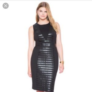 Eloquii Faux Leather Ponte Mix Dress
